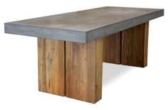 """Handmade lightweight concrete top, hollow reclaimed teak bases. Additional product dimension details: Inside measurement between teak legs / bases: 47.0875"""" (122CMS) / Distance from end of table to outer teak leg / base: 13.75 inches (34.92CMS) / Table top thickness 4 inches (10.1CMS) / Height from base of table top to floor/ground: 26.5"""" (67.3CMS)"""