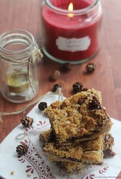 Black Cherry Oatmeal Bars with cinnamon! So delicious! If you love oatmeal desserts and the taste of shortbread, this is for you!
