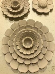 Hand Cut Paper Flower Wreaths & Ceramic Wallflowers by TerrysPaperCutz Hand Built Pottery, Slab Pottery, Ceramic Pottery, Pottery Art, Ceramic Clay, Ceramic Flowers, Clay Flowers, Slab Ceramics, Paper Flower Wreaths