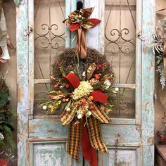 Holiday Wreaths Door Wreaths Wreaths by WreathsByRcollection Thanksgiving Wreaths, Holiday Wreaths, Thanksgiving Decorations, Christmas Flower Arrangements, Fall Floral Arrangements, Halloween Door Decorations, Christmas Decorations, Halloween Wreaths, Holiday Decorating
