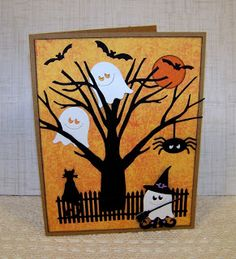 hand crafted Halloween card from Ann Greenspan's Crafts: Ghostly Trick or Treater ... die cut scene ... adorable little ghosts ...