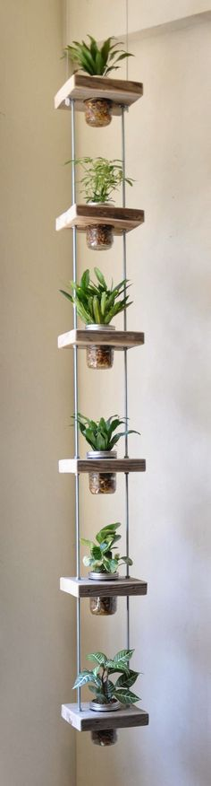 Hanging Herb Jar Garden - Don& have much space to grow your favorite plants? Try building a vertical garden like this one, hanging herb jar garden in you Vertical Planter, Vertical Gardens, Tiered Planter, Vertical Farming, Hanging Herbs, Diy Hanging, Hanging Baskets, Hanging Lanterns, Paper Lanterns