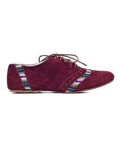 Take a look at this Burgundy Stripe Annie Suede Oxford by Fortress of Inca on #zulily today!