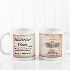 Personalized The Day You Were Born Mug - An inexpensive gift that any senior is sure to enjoy!  The back showcases their name, the top movies and songs from the year they were born, and the names of celebrities who share their birthday.
