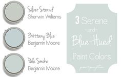 Coastal Blue and Blue Gray Paint Colors. Silver Strand Sherwin Williams. Brittany Blue Benjamin Moore. Benjamin Moore Pale Smoke. #SherwinWilliamsSilverStrand #BenjaminMooreBrittanyBlue #BenjaminMoorePaleSmoke Via Grace and Gumption.
