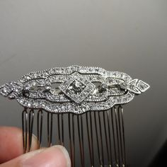 Silver Art deco hair comb wedding hair comb bridal bridesmaid vintage victorian inspired
