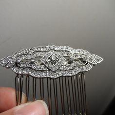 Art Deco comb Clear Rhinestone Silver Bridal Hair by ArlenesRubies