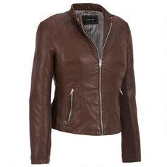 Black Rivet Faux-Leather Scuba Jacket w/ Knit Inset