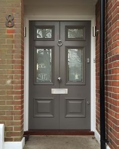 Victorian Front Doors are extremely popular, at London Door Company we have been handcrafting high quality doors for over 30 years. Craftsman Style Front Doors, Victorian Front Doors, Grey Front Doors, Double Front Doors, Front Door Entrance, Exterior Front Doors, House Front Door, Painted Front Doors, Glass Front Door