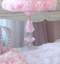 cottage pink decor   SHABBY PINK ROSES SHADE COTTAGE CHIC PINK MILK GLASS LAMP