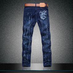Los nuevos 2014 hombres de Jeans hombres pantalones vaqueros de hombre apretado pintado personalizado Tiger 3D Printing pantalones alta calidad en Jeans de Moda y Complementos Hombre en AliExpress.com | Alibaba Group