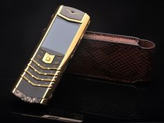 Golden Vertu Signature Original Snake Skin Leather Cell Phone