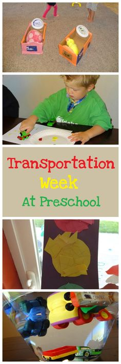 Transportation Week at Preschool. Make cardboard cars for their stuffed animals, Paint with Car and Train Wheels, Stop Light Craft, Sink or Float Experiment with Cars. Lessons From Our Life