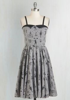 3x or 4x Clowning Around Dress in Smoke. Tigers, tattoos, and unicycling characters - you can find them all printed on this grey A-line dress! #grey #modcloth