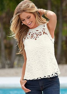 Crochet Lace Overlay Tank from VENUS women's swimwear and sexy clothing. Order Crochet Lace Overlay Tank for women from the online catalog or Cool Outfits, Fashion Outfits, Womens Fashion, Fashion Styles, White Lace Tank Top, Shirt Bluse, Crochet Fashion, Tank Dress, Clothes For Women