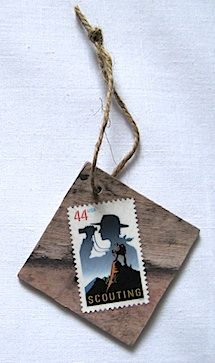 Boy scout stamp ornament
