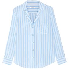 Equipment Keira striped washed-silk shirt (9.450 RUB) ❤ liked on Polyvore featuring tops, silk top, blue top, blue silk shirt, loose fitting shirts and striped top