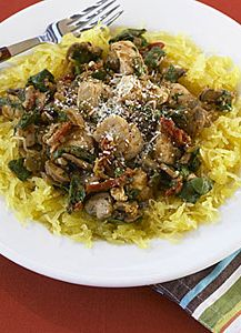 Spaghetti Squash with Chicken, Mushrooms, and Spinach! So good my children will love this!   my recipes