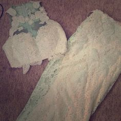 PROM DRESS Size 2. Worn twice. Super elegant mint green prom dress! All lace with a slip under it! The train is a little frayed from being dragged around behind me but it's not noticeable while being worn as shown in the picture! Jovani Dresses Prom