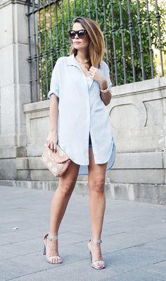 Street style: regata+ short e chemise como terceira peça
