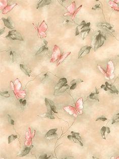 Papillons et feuilles sur fond beige