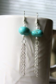 Turquoise Bead Chain Dangle Earrings by ConceptAna on Etsy