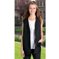 Lulu Gilet BRAND: DUCHESS is long length with side pockets and fully lined Corporate Outfits, Vest, Pockets, Lady, Skirts, Clothing, Model, Image, Dresses