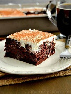 Love Italian desserts and poke cake recipes? Take a peek at this recipe for Tiramisu Chocolate Poke Cake! It's perfectly chocolatey, just like a chocolate cake should be.
