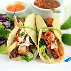 Korean Beef and Kimchi Tacos. This popular food-truck staple can be made at home. They are super easy to make and SO delicious.