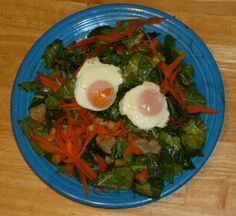 #WalmartGiving #NoKidHungry Egg & Kale (adult) Peel carrot skin off, peel flesh to baking sheet, cut flesh to plates. Dice 2 apples to sheet. 375F oven. Oil second sheet, arrange bread, crack 1 egg/hole, cook ~7 min. Turn eggs, salad to plate, warm kale ~3 min w/eggs to set. Toss kale in bit dressing. Slice last apple. Kids: one egg in toast, arrange bit kale, all slices, toast holes Adults: gently cut out eggs, rip bread & toss warm salad