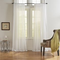 Elrene Home Fashions Asher Cotton Voile Sheer Curtain Panels Home - Home Decor - Curtains & Window Treatments - Bloomingdale's Curtains Living, Drapes Curtains, Camper Curtains, Sheer Drapes, Short Curtains, Bedroom Curtains, Window Drapes, Space Furniture, Furniture For Small Spaces