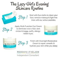 If you are like me you don't always wash your face at night. Leaving your makeup on throughout the night is horrible for your skin. If you don't do anything else try this simple routine and it not only cleans off that nasty makeup but it helps your skin look and feel younger! #rodanandfields #skincare cnixon1.myrandf.com