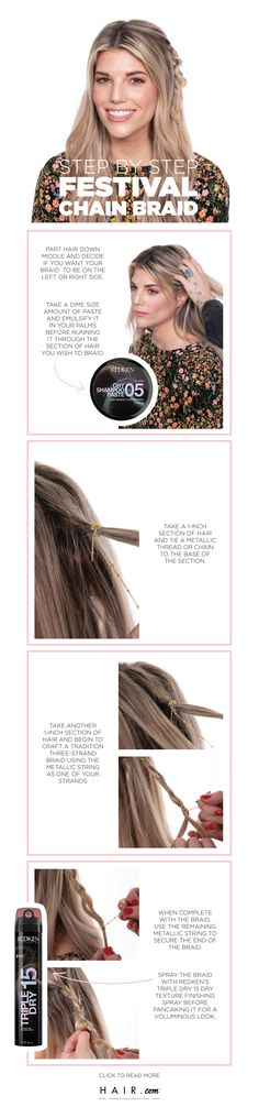 This effortless festival chain braid holds on until the sun … Pigtail Hairstyles, Braided Hairstyles Tutorials, Weave Hairstyles, Rachel Green, Easy Braids For Beginners, Nexxus Hair Products, High And Tight Haircut, Festival Braid, Latest Hair Trends
