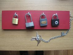DIY padlock board - great for fine motor skills