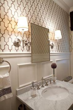 Powder room - Elizabeth Reich.  Love the wallpaper