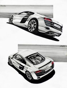 Audi R8 Markers 50x70cm drawn in 2011  by Ania Dzido
