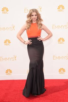 Actress Natalie Dormer attends the 66th Annual Primetime Emmy Awards held at the Nokia Theatre in Los Angeles, California wearing J. Mendel Resort 2015 Collection. www.jmendel.com
