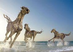 Levensechte sculpturen van drijfhout