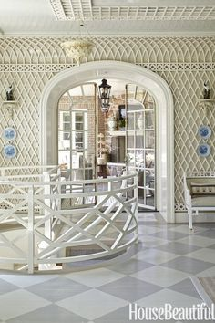 Timeless Classic: Decorating with Treillage - The Glam Pad Treillage trellis fretwork lattice classic interior design history examples traditional timeless elsie de wolfe amy berry danielle rollins accents of france Interior Design History, Trellis Wallpaper, Tiny Spaces, Classic Interior, Guest Bedrooms, Timeless Classic, Cheap Home Decor, Stairways, White Walls