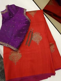 Red benaras tussar saree with gold zari woven buttas