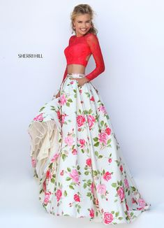 2016 Spring New Sherri Hill Floral Prom Dress Two Pieces 50261