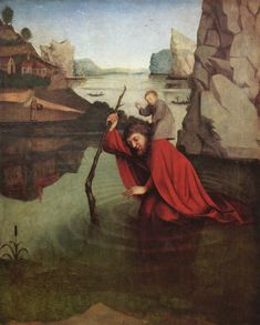 Konrad Witz - Saint Christopher -  1435 - religious Gothic art of the 16th century