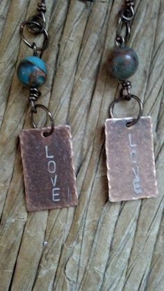 Antique Copper metal stamped LOVE earrings by SouthernGalsDesigns, $15.00