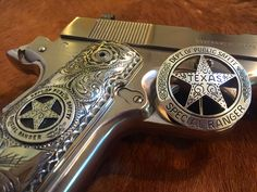 Cinco Peso badge by Lopez Engraving. 1911 Grips, 1911 Pistol, Texas Rangers Law Enforcement, Texas State Trooper, Texas Law, Cowboys And Indians, Edc Everyday Carry, Guns And Ammo, Tactical Gear