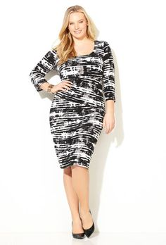 Tiered Smudge Striped Dress-Plus Size Dress-Avenue Plus Size Dresses, Plus Size Outfits, Dresses For Work, Basic Style, Style Me, Avenue Dresses, Spring Outfits, Spring Clothes, Striped Dress