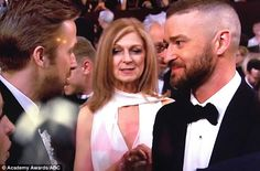 Well hello old friend: On Sunday actor Ryan Gosling and singer Justin Timberlake reunited at the 89th Academy Awards inside Hollywood's Dolby Theatre