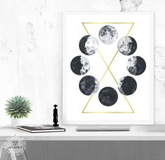 Instant Digital Download, no physical item will be sent.  ☽ Watercolor Moon Phases, Printable Art. This print is from my original digital illustration, a circle of black and white grunge watercolor phases of the moon, with a geometric gold foil design abstract background. ☽ Your purchase includes: ● A high quality original art print. (300 dpi resolution) Print comes in 3 sizes: ● 5 x 7 .jpeg file ● 8 x 10 .jpeg file ● 11 x 14 .jpeg file ● After purchase and payment, a download link will be…