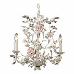 "Mini chandelier with floral accents.   Product: Mini chandelierConstruction Material: Metal Color: Cream and pinkFeatures:  Romantic floral motifWill enhance any decor Accommodates: (3) 60 Watt candelabra bulbs - not includedDimensions: 18"" H x 18"" W x 18"" D"