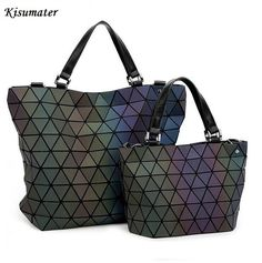 2017 Women Geometry Sequins Mirror  Plain Folding Bags Luminous Bag  PU Casual totes female handbag  Famous Logo Bag >>> Check this useful article by going to the link at the image. #CrossBodyBags