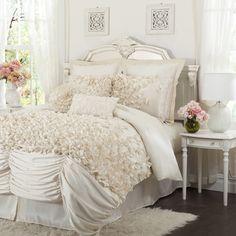 Comforter set more info lush decor lucia white queen 4 piece comforter - White bedding sets comforters Ruffle Comforter, Blue Comforter Sets, Bedding Sets, White Bedding, Pink Bedspread, Damask Bedding, White Bedspreads, Fluffy Bedding, Floral Comforter